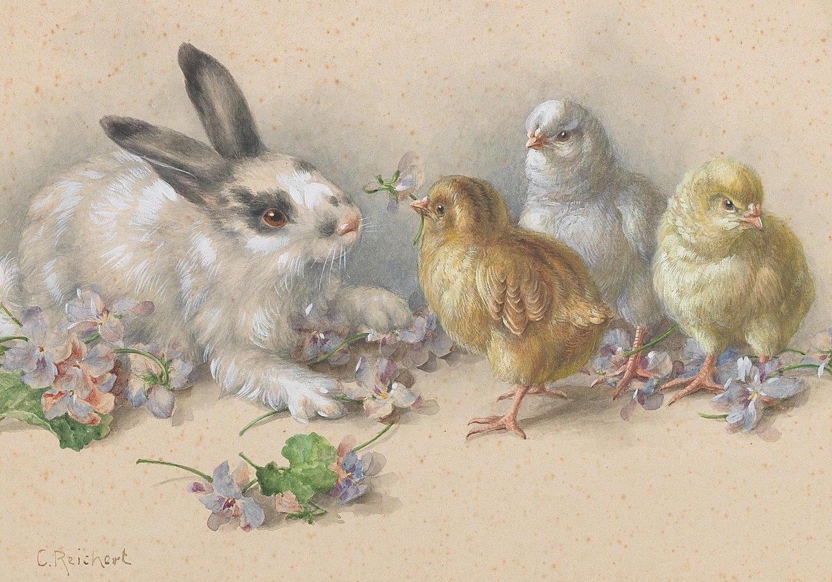 Птицы, картина Рейхерт Карл «Кролик и цыплята»Птицы<br>Репродукция на холсте или бумаге. Любого нужного вам размера. В раме или без. Подвес в комплекте. Трехслойная надежная упаковка. Доставим в любую точку России. Вам осталось только повесить картину на стену!<br>
