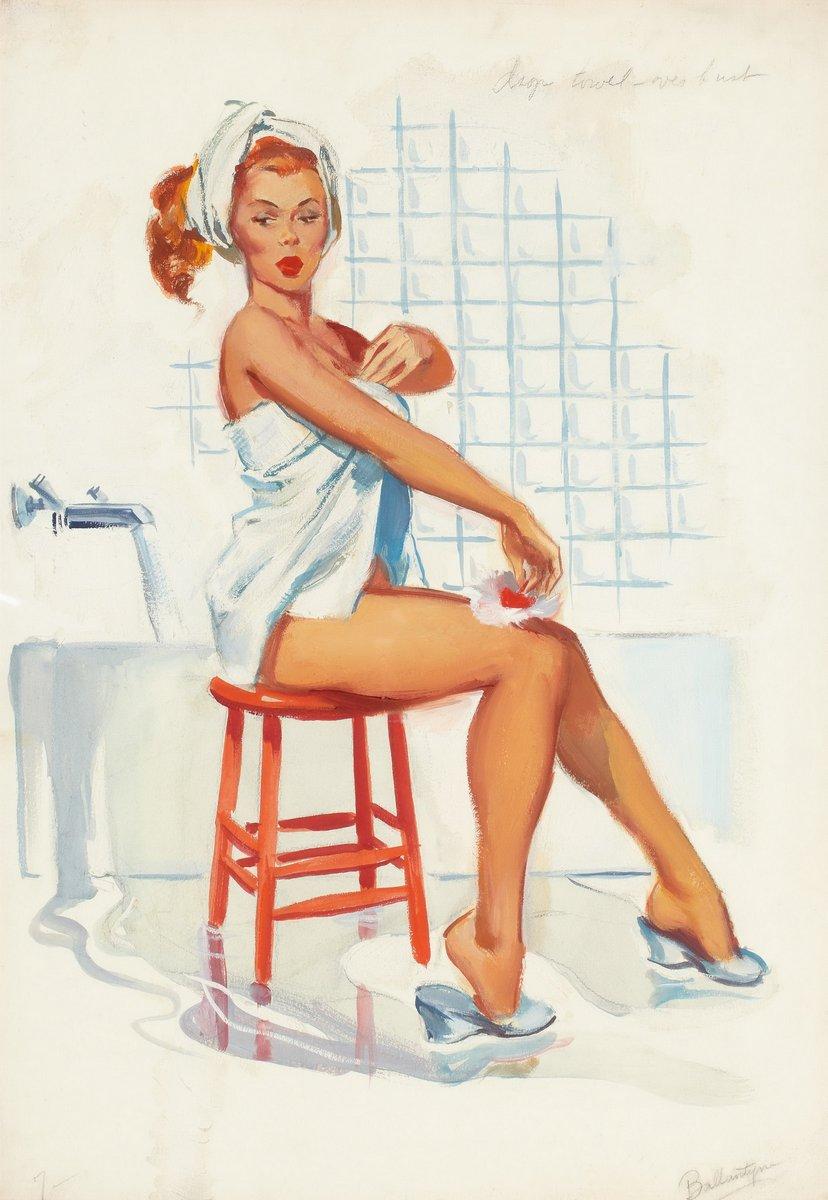 Искусство, картина Баллантайн Джойс «В ванной (эскиз)», 20x29 см, на бумагеПин-ап<br>Постер на холсте или бумаге. Любого нужного вам размера. В раме или без. Подвес в комплекте. Трехслойная надежная упаковка. Доставим в любую точку России. Вам осталось только повесить картину на стену!<br>