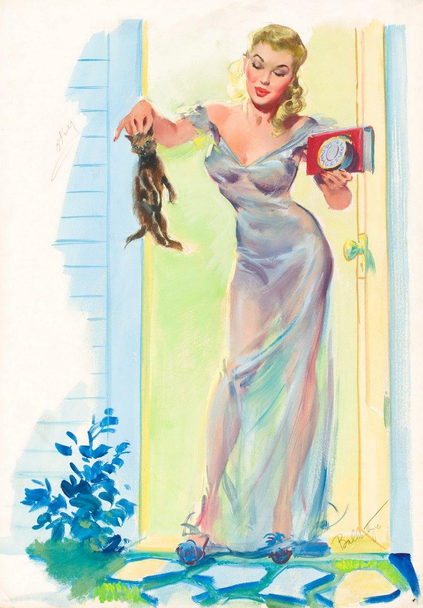 Искусство, картина Баллантайн Джойс «Девушка и котенок», 20x29 см, на бумагеПин-ап<br>Постер на холсте или бумаге. Любого нужного вам размера. В раме или без. Подвес в комплекте. Трехслойная надежная упаковка. Доставим в любую точку России. Вам осталось только повесить картину на стену!<br>