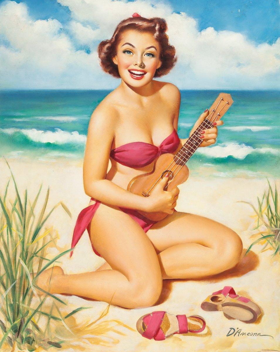Искусство, картина Де Анкона Эдвард «Девушка с гавайской гитарой», 20x25 см, на бумагеПин-ап<br>Постер на холсте или бумаге. Любого нужного вам размера. В раме или без. Подвес в комплекте. Трехслойная надежная упаковка. Доставим в любую точку России. Вам осталось только повесить картину на стену!<br>