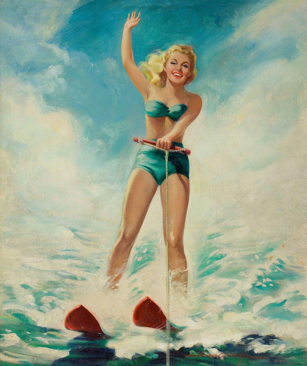 Искусство, картина Конноли Говард «Девушка на водных лыжах», 20x24 см, на бумагеПин-ап<br>Постер на холсте или бумаге. Любого нужного вам размера. В раме или без. Подвес в комплекте. Трехслойная надежная упаковка. Доставим в любую точку России. Вам осталось только повесить картину на стену!<br>