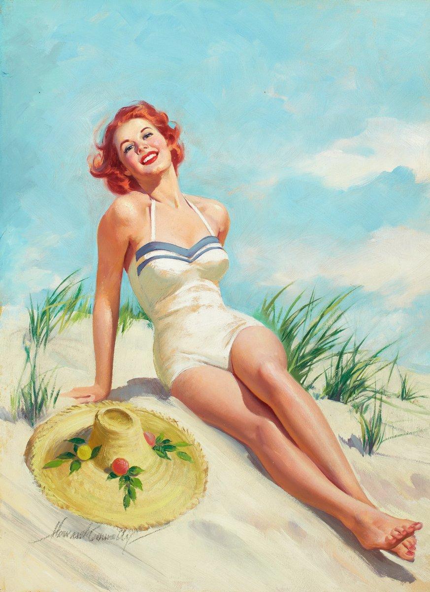 Искусство, картина Конноли Говард «Девушка на пляже», 20x27 см, на бумагеПин-ап<br>Постер на холсте или бумаге. Любого нужного вам размера. В раме или без. Подвес в комплекте. Трехслойная надежная упаковка. Доставим в любую точку России. Вам осталось только повесить картину на стену!<br>