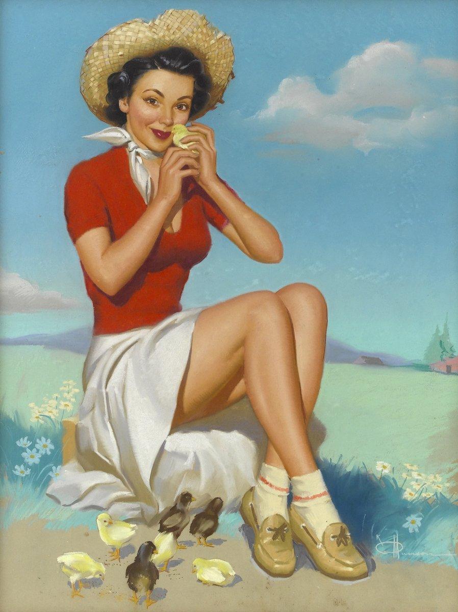 Искусство, картина Мансон Кнут «Девушка с цыплятами», 20x27 см, на бумагеПин-ап<br>Постер на холсте или бумаге. Любого нужного вам размера. В раме или без. Подвес в комплекте. Трехслойная надежная упаковка. Доставим в любую точку России. Вам осталось только повесить картину на стену!<br>