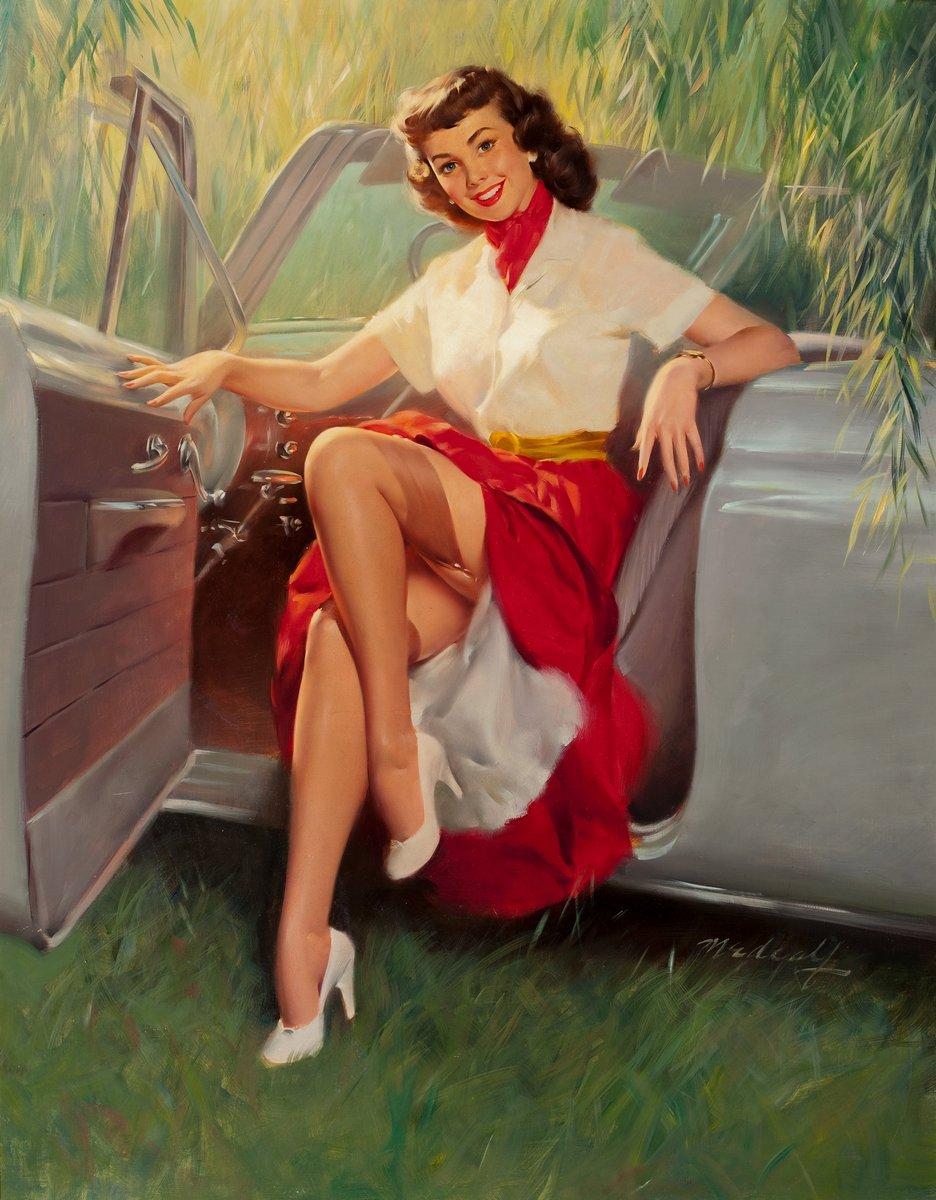 Искусство, картина Медкалф Билл «Девушка в автомобиле», 20x26 см, на бумагеПин-ап<br>Постер на холсте или бумаге. Любого нужного вам размера. В раме или без. Подвес в комплекте. Трехслойная надежная упаковка. Доставим в любую точку России. Вам осталось только повесить картину на стену!<br>