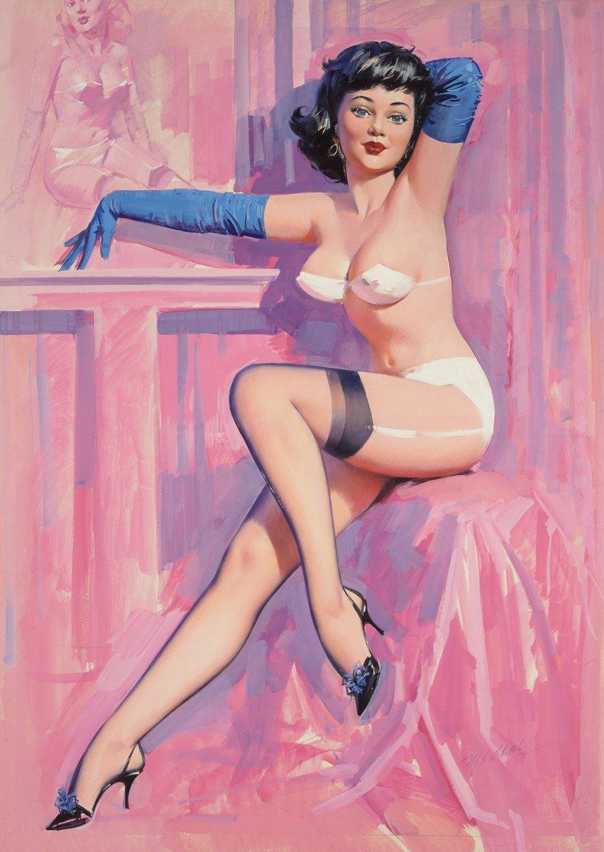 Искусство, картина Медкалф Билл «Девушка в голубых перчатках», 20x28 см, на бумагеПин-ап<br>Постер на холсте или бумаге. Любого нужного вам размера. В раме или без. Подвес в комплекте. Трехслойная надежная упаковка. Доставим в любую точку России. Вам осталось только повесить картину на стену!<br>