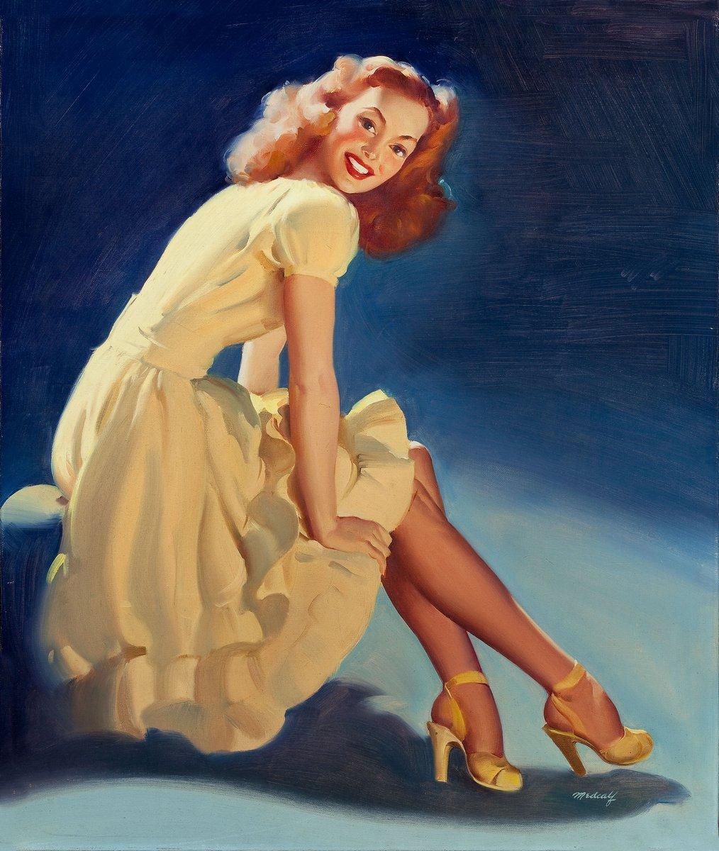 Искусство, картина Медкалф Билл «Девушка в желтом платье», 20x24 см, на бумагеПин-ап<br>Постер на холсте или бумаге. Любого нужного вам размера. В раме или без. Подвес в комплекте. Трехслойная надежная упаковка. Доставим в любую точку России. Вам осталось только повесить картину на стену!<br>