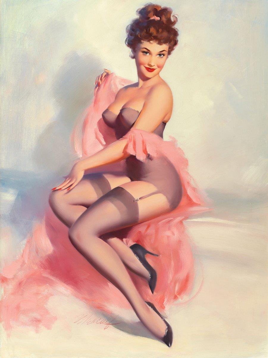 Искусство, картина Медкалф Билл «Девушка с розовым покрывалом», 20x27 см, на бумагеПин-ап<br>Постер на холсте или бумаге. Любого нужного вам размера. В раме или без. Подвес в комплекте. Трехслойная надежная упаковка. Доставим в любую точку России. Вам осталось только повесить картину на стену!<br>