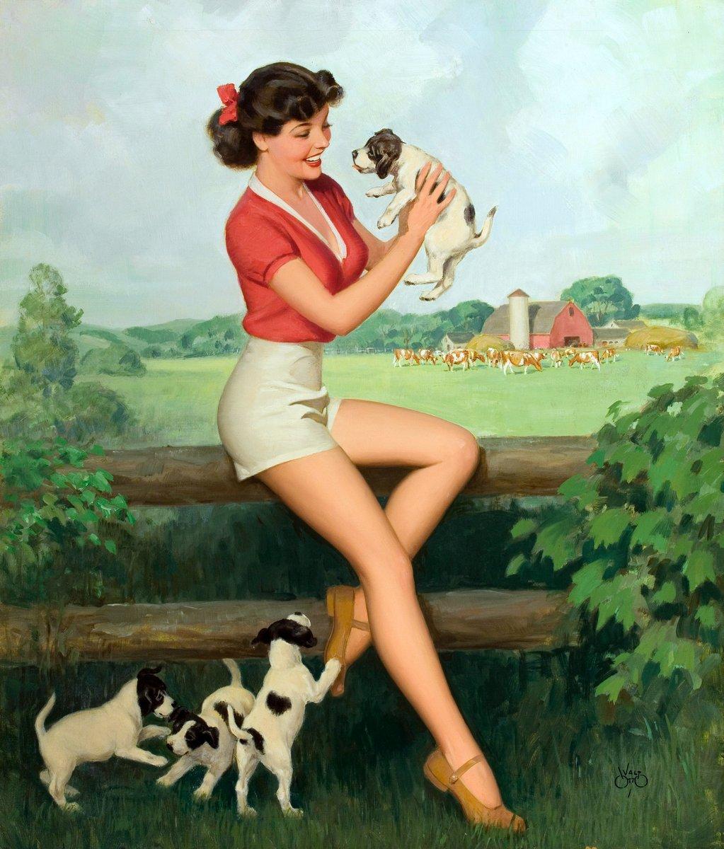 Отто Уолт «Девушка со щенками», 20x23 см, на бумагеПин-ап<br>Постер на холсте или бумаге. Любого нужного вам размера. В раме или без. Подвес в комплекте. Трехслойная надежная упаковка. Доставим в любую точку России. Вам осталось только повесить картину на стену!<br>
