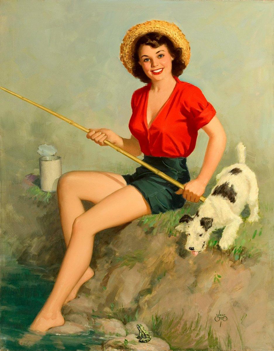 Искусство, картина Отто Уолт «Девушка с удочкой и собакой», 20x26 см, на бумагеПин-ап<br>Постер на холсте или бумаге. Любого нужного вам размера. В раме или без. Подвес в комплекте. Трехслойная надежная упаковка. Доставим в любую точку России. Вам осталось только повесить картину на стену!<br>