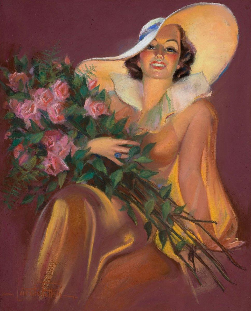 Искусство, картина Паттен Лоретта «Девушка с букетом роз», 20x25 см, на бумагеПин-ап<br>Постер на холсте или бумаге. Любого нужного вам размера. В раме или без. Подвес в комплекте. Трехслойная надежная упаковка. Доставим в любую точку России. Вам осталось только повесить картину на стену!<br>