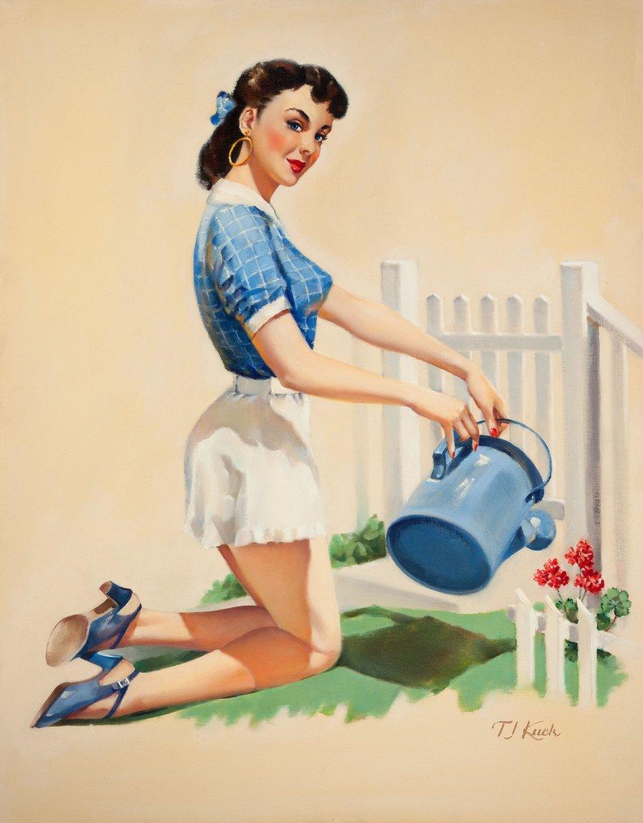 Пин-ап, картина Ти Джей Кук «Девушка, поливающая цветы», 20x26 см, на бумагеПин-ап<br>Постер на холсте или бумаге. Любого нужного вам размера. В раме или без. Подвес в комплекте. Трехслойная надежная упаковка. Доставим в любую точку России. Вам осталось только повесить картину на стену!<br>