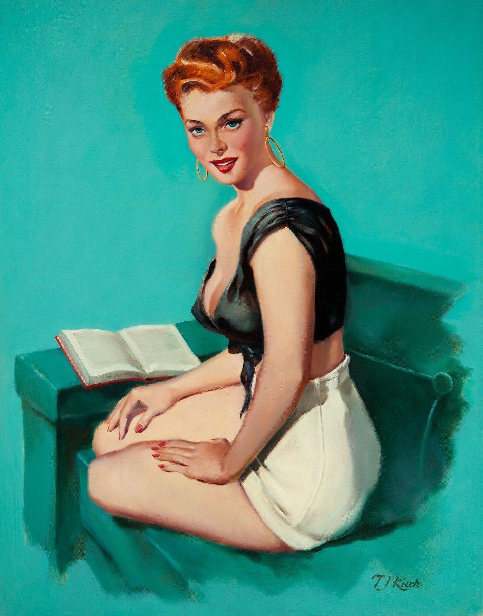 Искусство, картина Ти Джей Кук «Девушка с книгой», 20x26 см, на бумагеПин-ап<br>Постер на холсте или бумаге. Любого нужного вам размера. В раме или без. Подвес в комплекте. Трехслойная надежная упаковка. Доставим в любую точку России. Вам осталось только повесить картину на стену!<br>