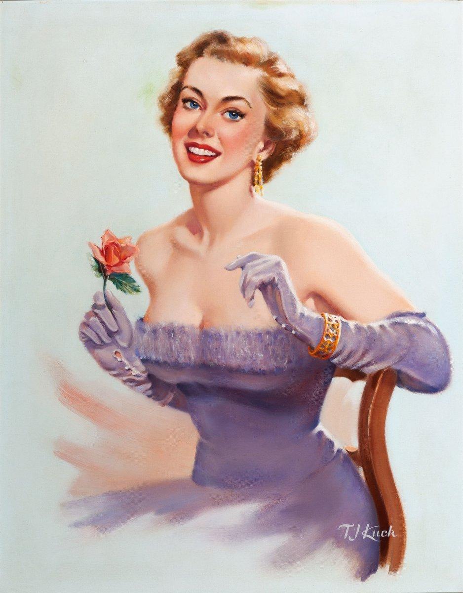 Искусство, картина Ти Джей Кук «Девушка с розой», 20x26 см, на бумагеПин-ап<br>Постер на холсте или бумаге. Любого нужного вам размера. В раме или без. Подвес в комплекте. Трехслойная надежная упаковка. Доставим в любую точку России. Вам осталось только повесить картину на стену!<br>