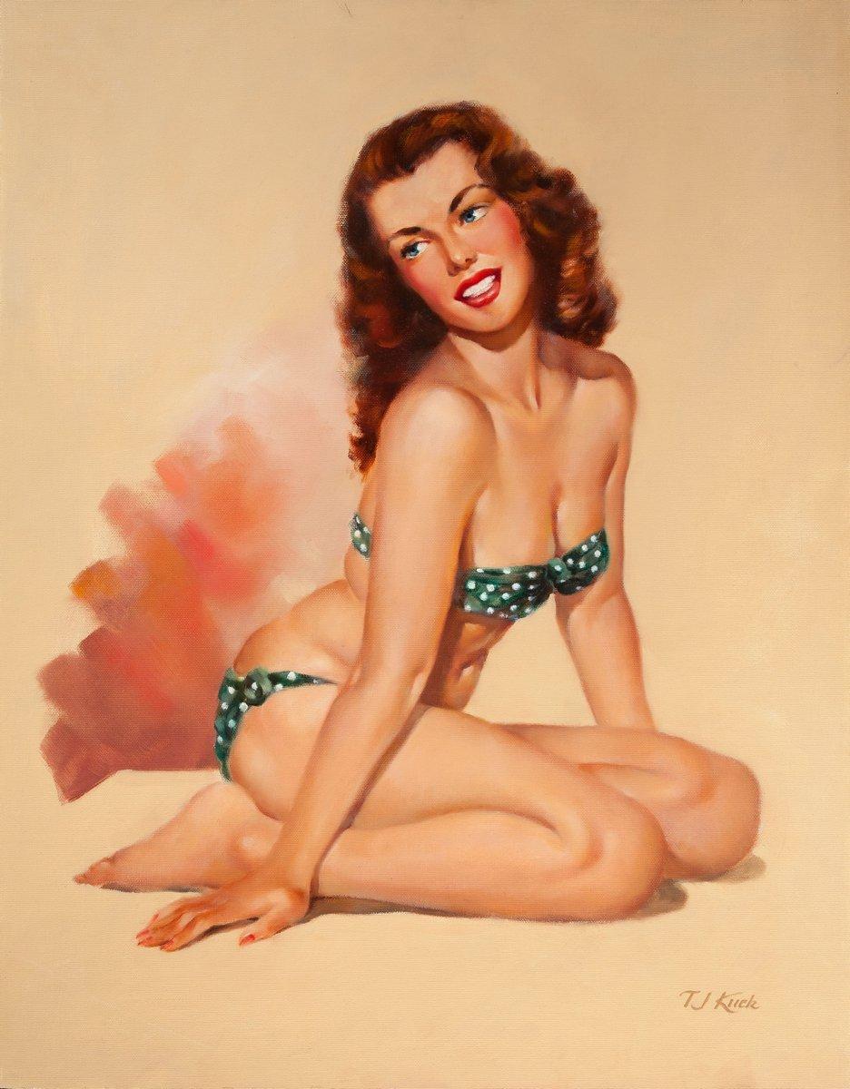 Искусство, картина Ти Джей Кук «Сидящая на коленях девушка в бикини», 20x26 см, на бумагеПин-ап<br>Постер на холсте или бумаге. Любого нужного вам размера. В раме или без. Подвес в комплекте. Трехслойная надежная упаковка. Доставим в любую точку России. Вам осталось только повесить картину на стену!<br>