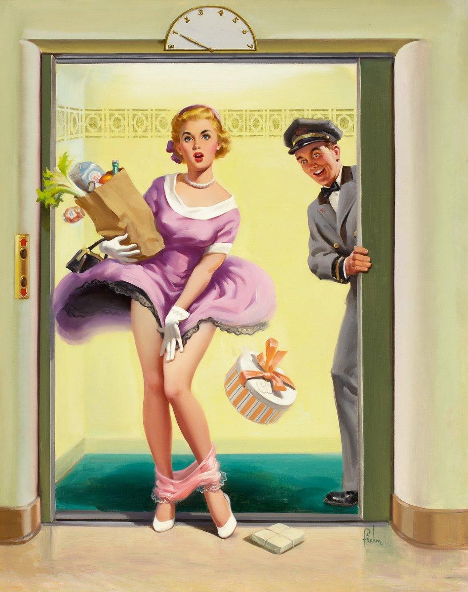 Искусство, картина Фрам Арт «Девушка, выходящая из лифта», 20x25 см, на бумагеПин-ап<br>Постер на холсте или бумаге. Любого нужного вам размера. В раме или без. Подвес в комплекте. Трехслойная надежная упаковка. Доставим в любую точку России. Вам осталось только повесить картину на стену!<br>