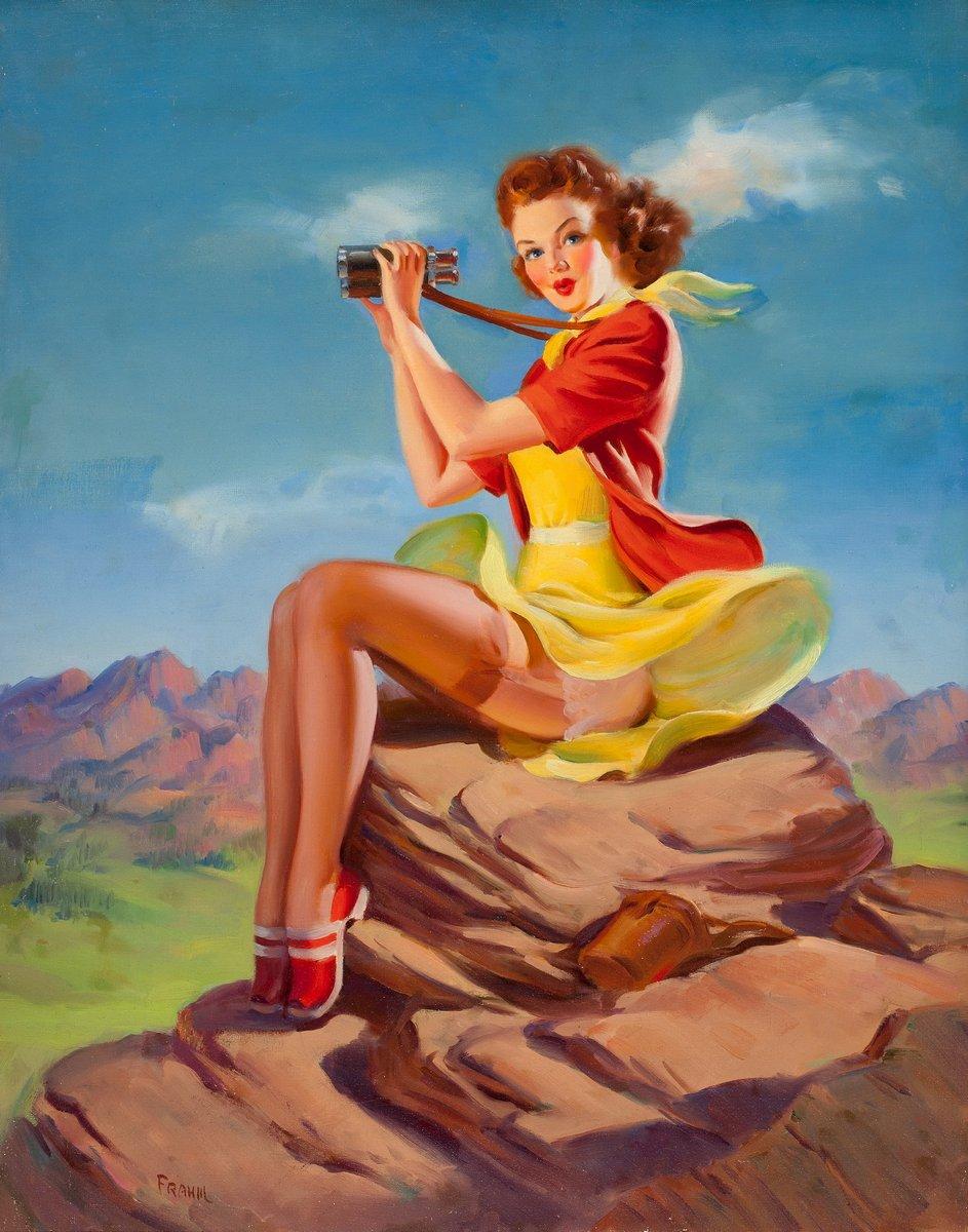 Искусство, картина Фрам Арт «Девушка с биноклем», 20x25 см, на бумагеПин-ап<br>Постер на холсте или бумаге. Любого нужного вам размера. В раме или без. Подвес в комплекте. Трехслойная надежная упаковка. Доставим в любую точку России. Вам осталось только повесить картину на стену!<br>