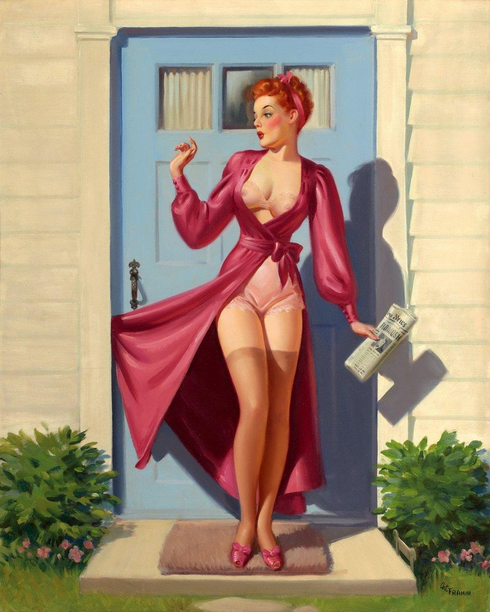 Искусство, картина Фрам Арт «Девушка с платьем, застрявшем в двери», 20x25 см, на бумагеПин-ап<br>Постер на холсте или бумаге. Любого нужного вам размера. В раме или без. Подвес в комплекте. Трехслойная надежная упаковка. Доставим в любую точку России. Вам осталось только повесить картину на стену!<br>