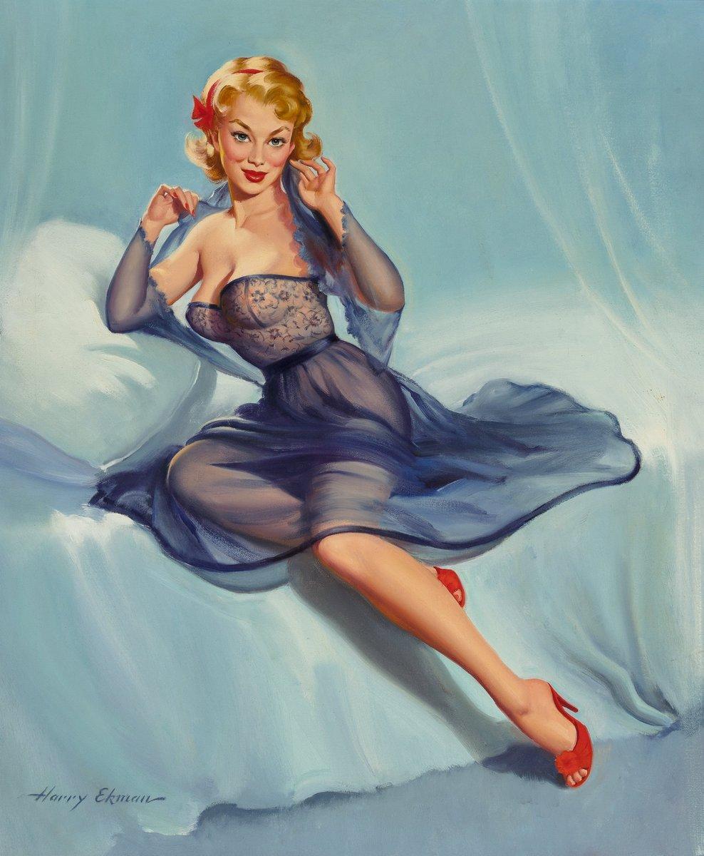 Искусство, картина Экман Гарри «Девушка на кровати», 20x24 см, на бумагеПин-ап<br>Постер на холсте или бумаге. Любого нужного вам размера. В раме или без. Подвес в комплекте. Трехслойная надежная упаковка. Доставим в любую точку России. Вам осталось только повесить картину на стену!<br>
