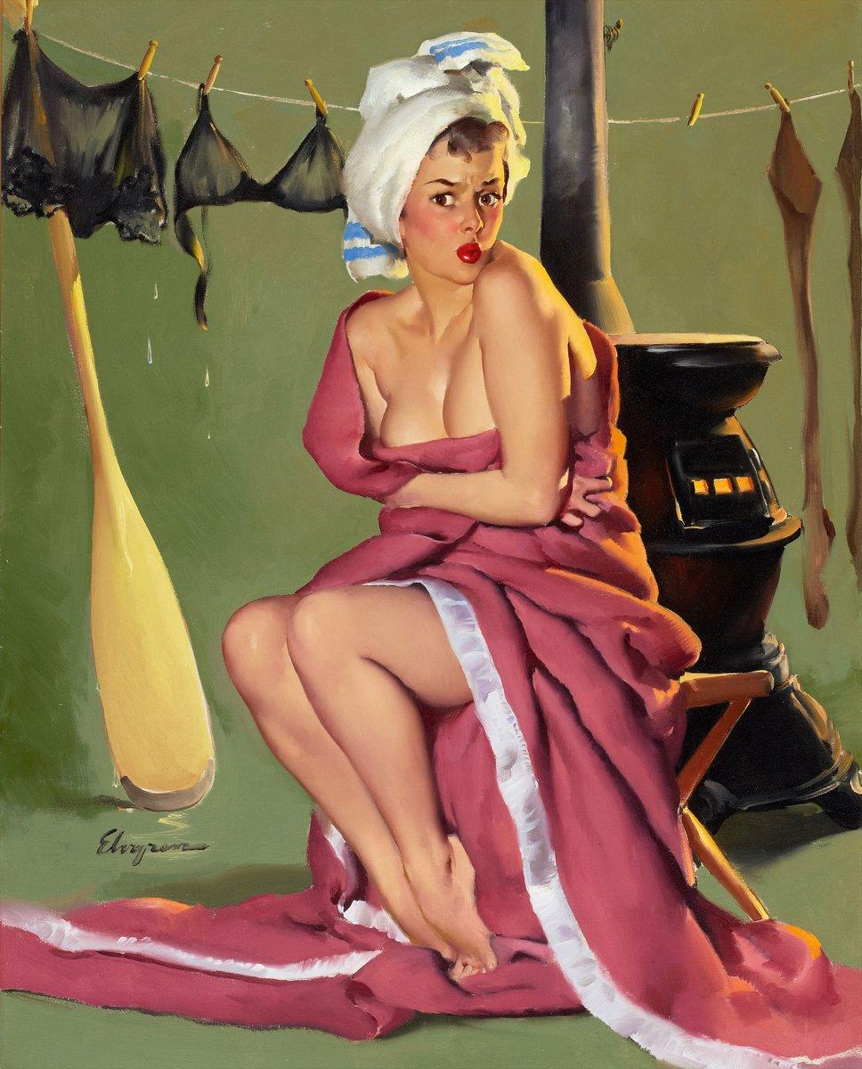 Искусство, картина Элвгрен Джил «Промокшая девушка», 20x25 см, на бумагеПин-ап<br>Постер на холсте или бумаге. Любого нужного вам размера. В раме или без. Подвес в комплекте. Трехслойная надежная упаковка. Доставим в любую точку России. Вам осталось только повесить картину на стену!<br>