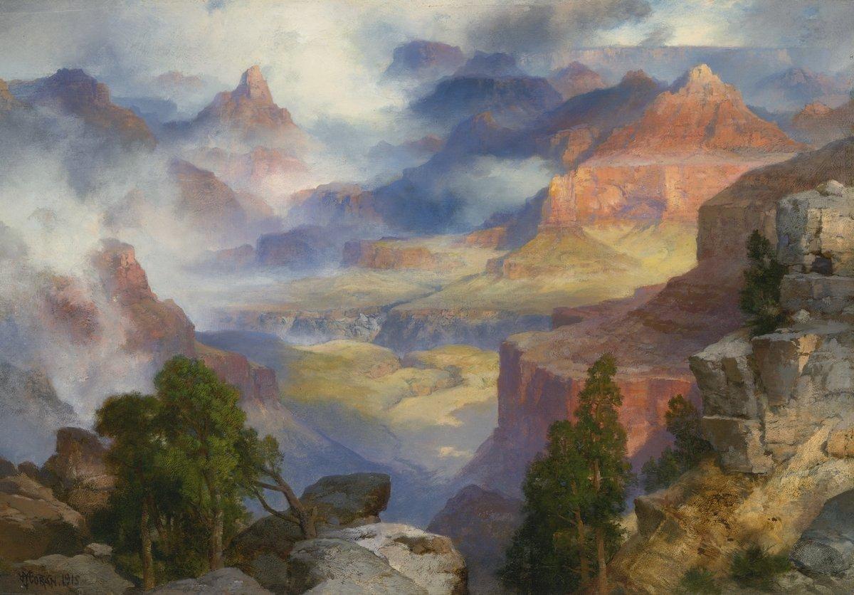 Моран Томас «Гранд каньон в тумане», 29x20 см, на бумагеРазные американские художники 19-20 веков<br>Постер на холсте или бумаге. Любого нужного вам размера. В раме или без. Подвес в комплекте. Трехслойная надежная упаковка. Доставим в любую точку России. Вам осталось только повесить картину на стену!<br>