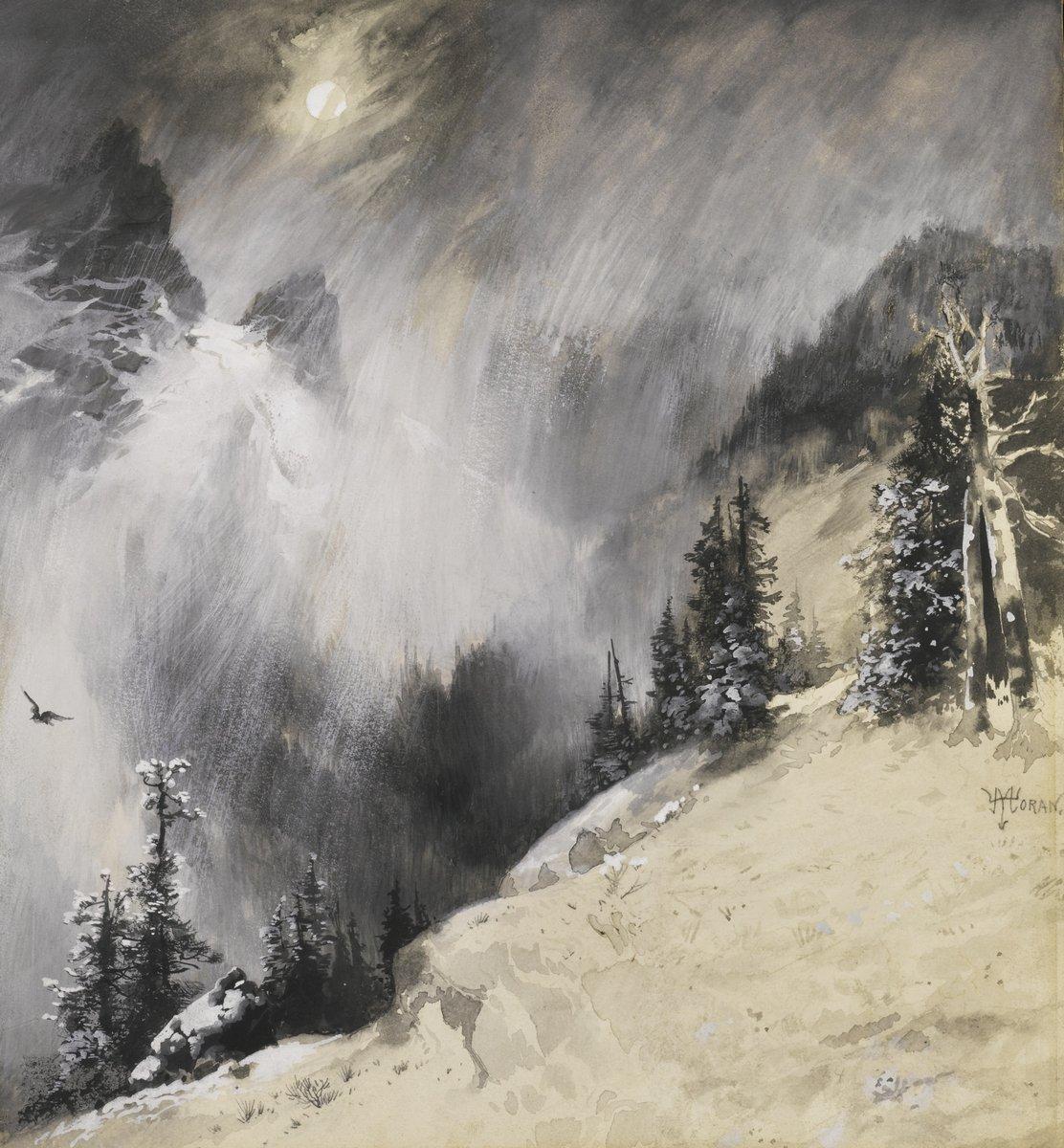 Художники, картина Моран Томас «Падающий снег», 20x22 см, на бумагеРазные американские художники 19-20 веков<br>Постер на холсте или бумаге. Любого нужного вам размера. В раме или без. Подвес в комплекте. Трехслойная надежная упаковка. Доставим в любую точку России. Вам осталось только повесить картину на стену!<br>
