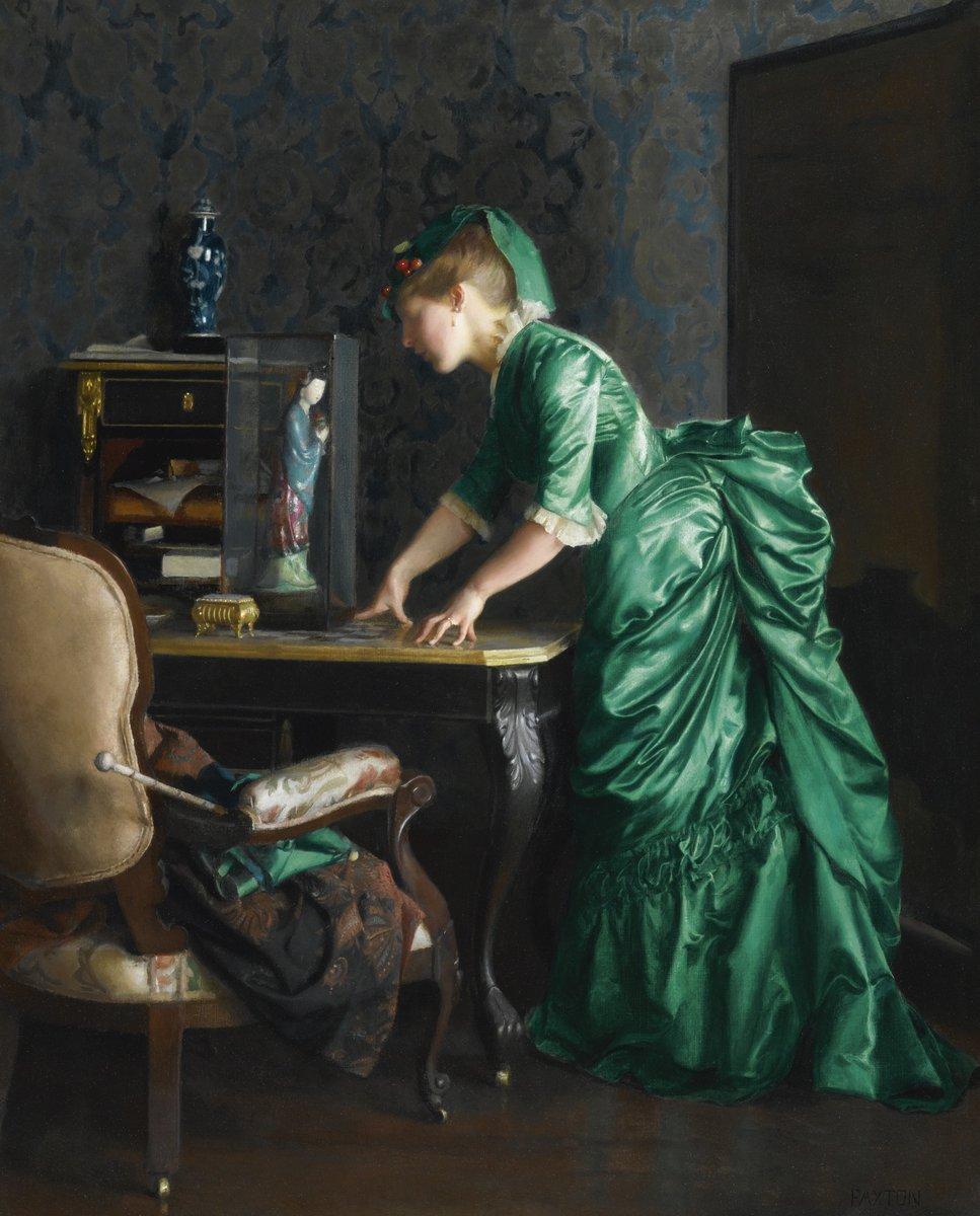 Художники, картина Пакстон Уильям «Зеленое платье», 20x25 см, на бумагеРазные американские художники 19-20 веков<br>Постер на холсте или бумаге. Любого нужного вам размера. В раме или без. Подвес в комплекте. Трехслойная надежная упаковка. Доставим в любую точку России. Вам осталось только повесить картину на стену!<br>