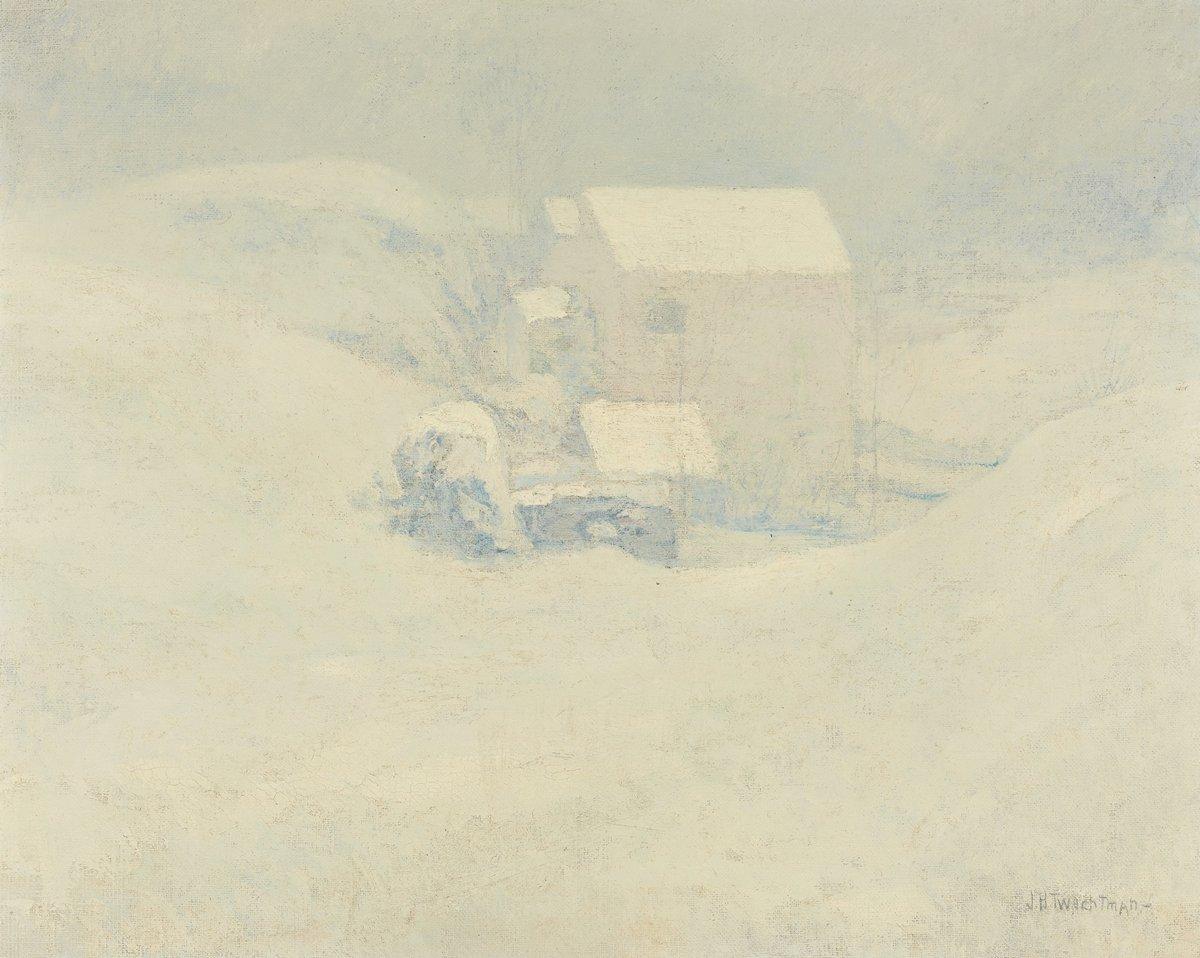 Художники, картина Твачтман Джон «Снег», 25x20 см, на бумагеРазные американские художники 19-20 веков<br>Постер на холсте или бумаге. Любого нужного вам размера. В раме или без. Подвес в комплекте. Трехслойная надежная упаковка. Доставим в любую точку России. Вам осталось только повесить картину на стену!<br>