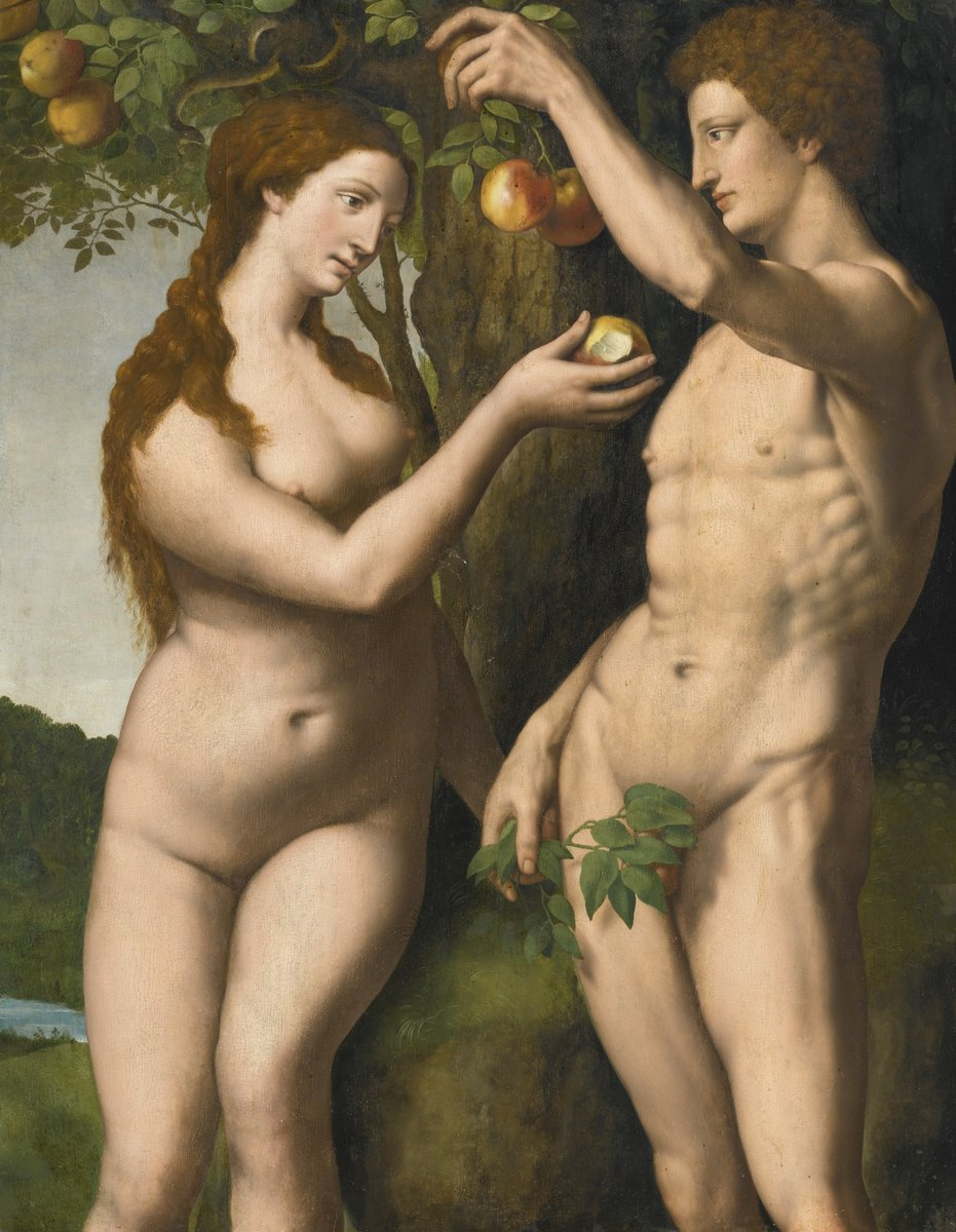Живопись Нидерландов, картина Неизвестный художник «Адам и Ева»Живопись Нидерландов<br>Репродукция на холсте или бумаге. Любого нужного вам размера. В раме или без. Подвес в комплекте. Трехслойная надежная упаковка. Доставим в любую точку России. Вам осталось только повесить картину на стену!<br>