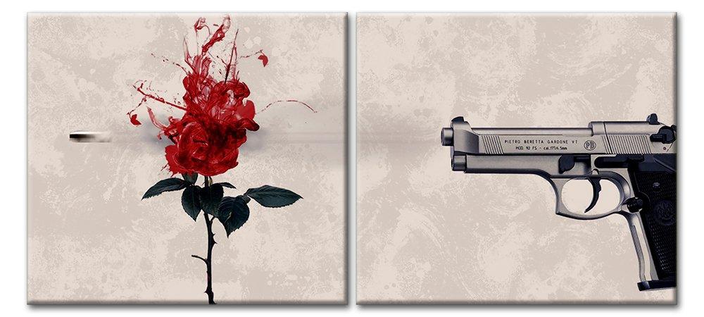 Модульная картина «Роза. Пистолет. Выстрел.»Цветы<br>Модульная картина на натуральном холсте и деревянном подрамнике. Подвес в комплекте. Трехслойная надежная упаковка. Доставим в любую точку России. Вам осталось только повесить картину на стену!<br>