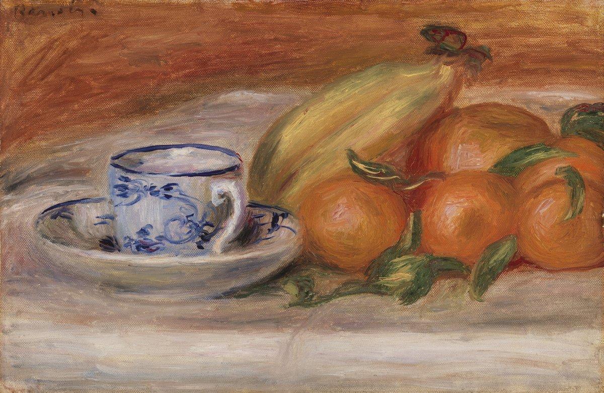 Художники, картина Апельсины, банан и чашка чая, 31x20 см, на бумагеРенуар Огюст<br>Постер на холсте или бумаге. Любого нужного вам размера. В раме или без. Подвес в комплекте. Трехслойная надежная упаковка. Доставим в любую точку России. Вам осталось только повесить картину на стену!<br>