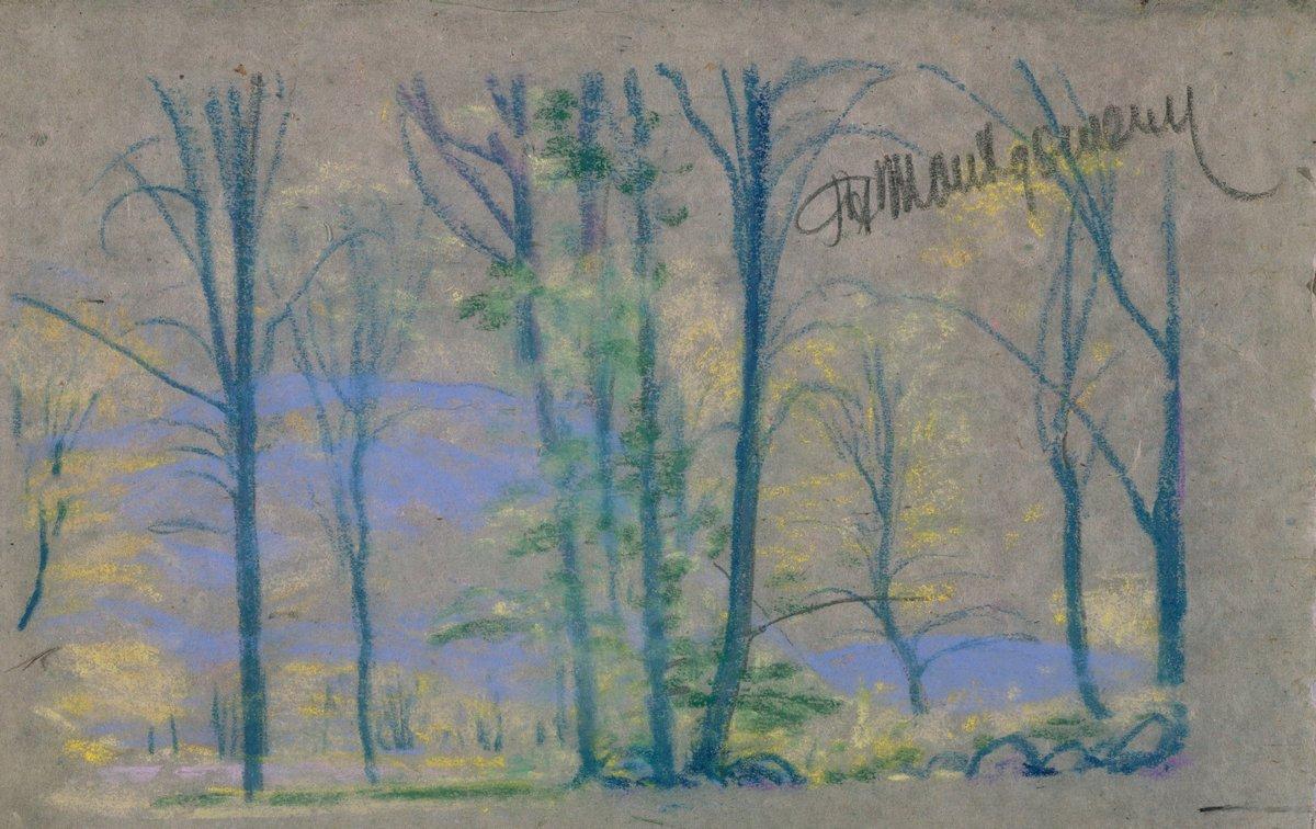 Художники, картина Пейзаж с деревьями, 32x20 см, на бумагеДэвис Артур<br>Постер на холсте или бумаге. Любого нужного вам размера. В раме или без. Подвес в комплекте. Трехслойная надежная упаковка. Доставим в любую точку России. Вам осталось только повесить картину на стену!<br>
