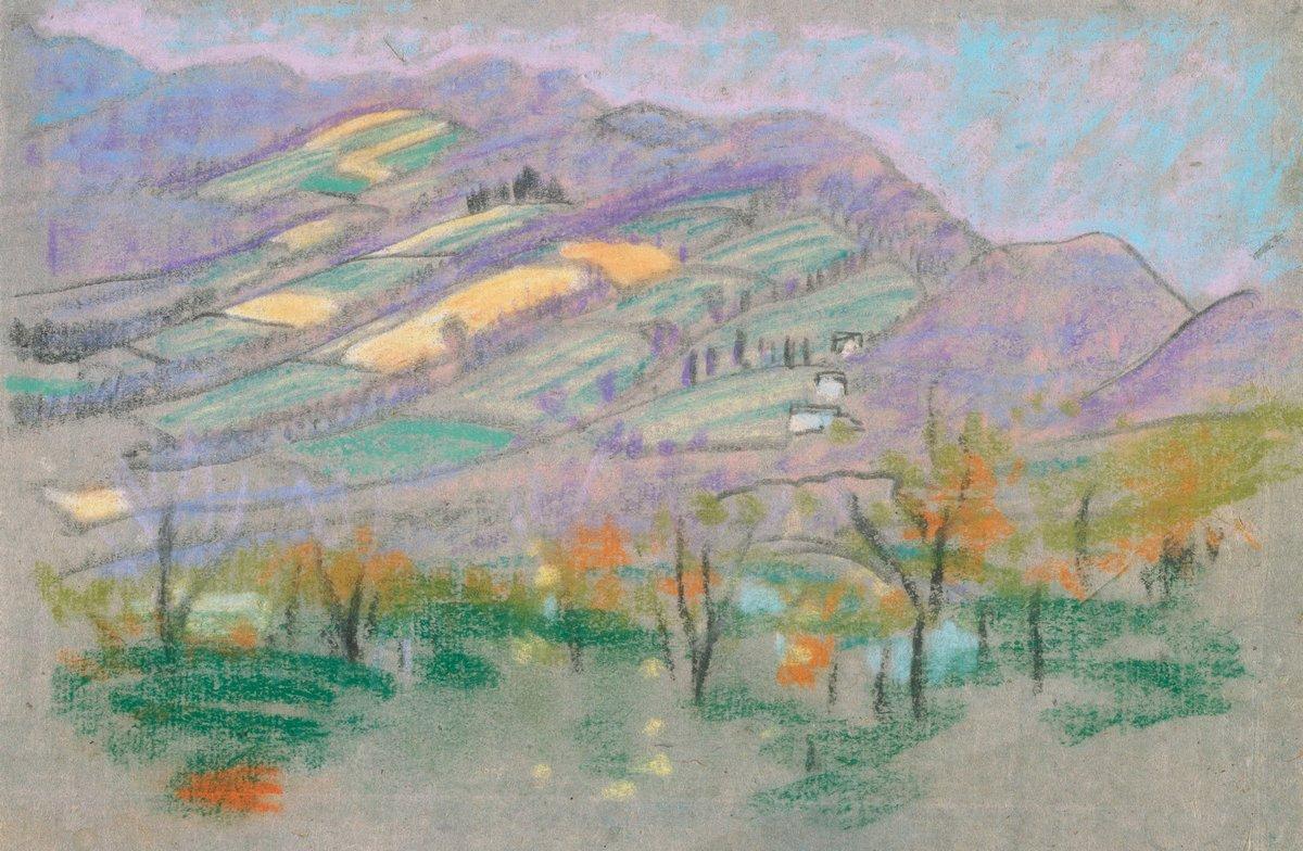 Художники, картина Пейзаж с фиолетовыми горами, 31x20 см, на бумагеДэвис Артур<br>Постер на холсте или бумаге. Любого нужного вам размера. В раме или без. Подвес в комплекте. Трехслойная надежная упаковка. Доставим в любую точку России. Вам осталось только повесить картину на стену!<br>