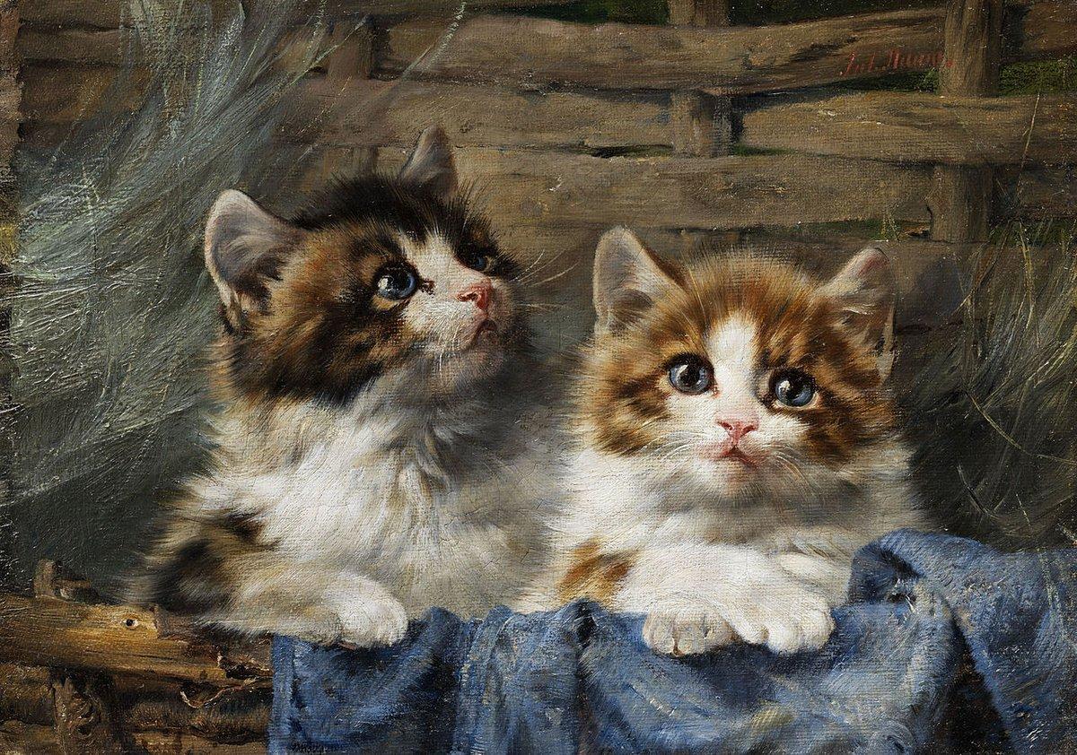 Искусство, картина Адам Юлиус «Двое котят в корзине с синим полотенцем», 29x20 см, на бумагеКошки<br>Постер на холсте или бумаге. Любого нужного вам размера. В раме или без. Подвес в комплекте. Трехслойная надежная упаковка. Доставим в любую точку России. Вам осталось только повесить картину на стену!<br>