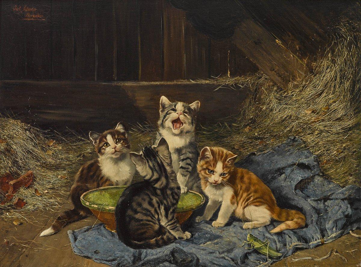 Кошки, картина Адам Юлиус «Четыре котенка за едой», 27x20 см, на бумагеКошки<br>Постер на холсте или бумаге. Любого нужного вам размера. В раме или без. Подвес в комплекте. Трехслойная надежная упаковка. Доставим в любую точку России. Вам осталось только повесить картину на стену!<br>