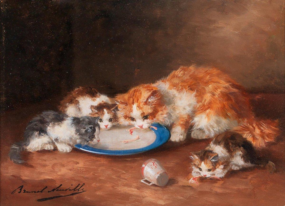 Искусство, картина Брунель-Нойвилл Артур «Кошка с тремя котятами», 28x20 см, на бумагеКошки<br>Постер на холсте или бумаге. Любого нужного вам размера. В раме или без. Подвес в комплекте. Трехслойная надежная упаковка. Доставим в любую точку России. Вам осталось только повесить картину на стену!<br>