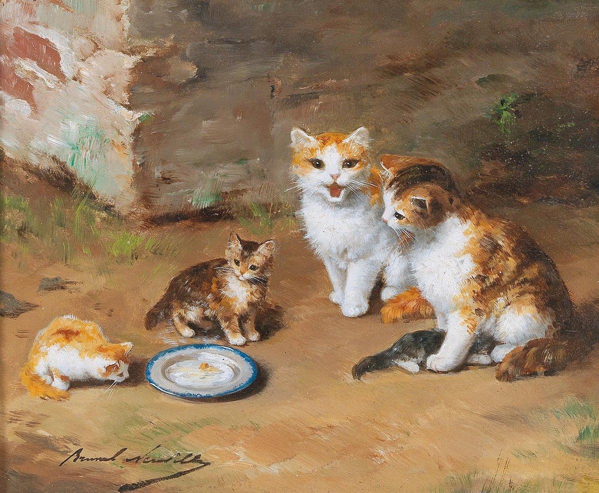 Искусство, картина Брунель-Нойвилл Артур «Кошки и котята», 24x20 см, на бумагеКошки<br>Постер на холсте или бумаге. Любого нужного вам размера. В раме или без. Подвес в комплекте. Трехслойная надежная упаковка. Доставим в любую точку России. Вам осталось только повесить картину на стену!<br>