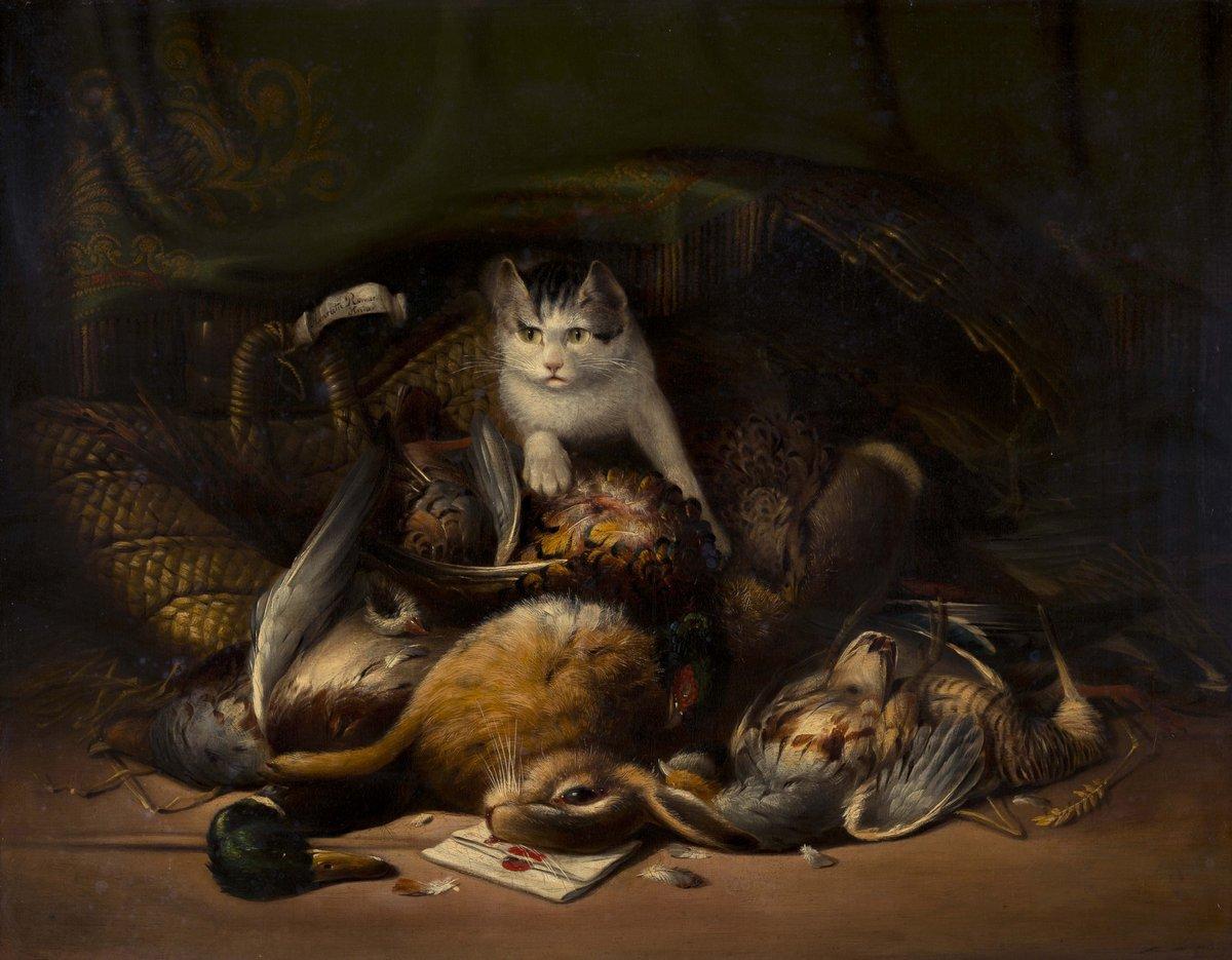 Искусство, картина Роннер Генриетта «Кошка и дичь», 26x20 см, на бумагеКошки<br>Постер на холсте или бумаге. Любого нужного вам размера. В раме или без. Подвес в комплекте. Трехслойная надежная упаковка. Доставим в любую точку России. Вам осталось только повесить картину на стену!<br>