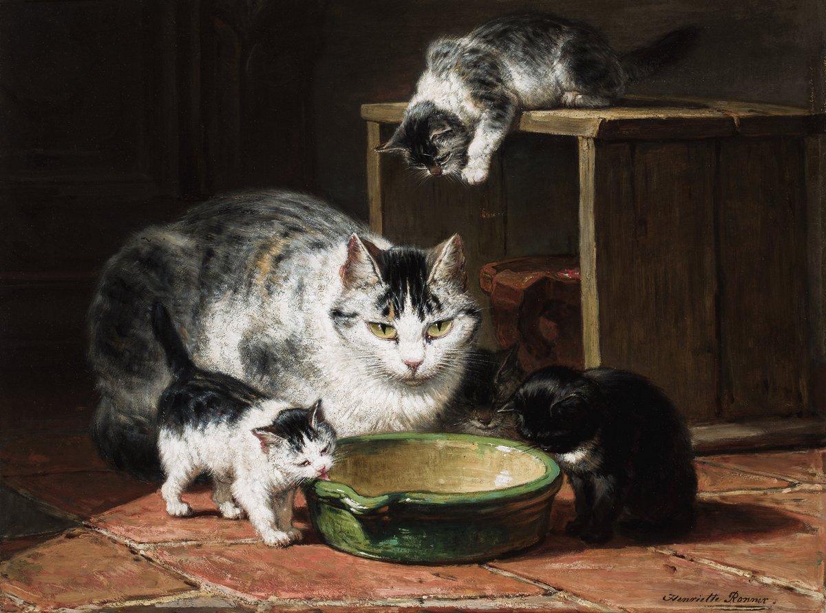Искусство, картина Роннер Генриетта «Кошка с котятами за едой», 27x20 см, на бумагеКошки<br>Постер на холсте или бумаге. Любого нужного вам размера. В раме или без. Подвес в комплекте. Трехслойная надежная упаковка. Доставим в любую точку России. Вам осталось только повесить картину на стену!<br>