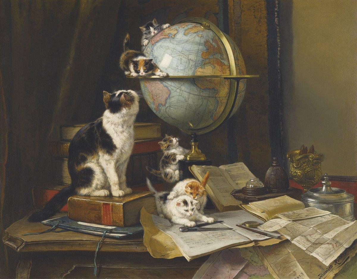 Искусство, картина Роннер Генриетта «Кошка с котятами около глобуса», 26x20 см, на бумагеКошки<br>Постер на холсте или бумаге. Любого нужного вам размера. В раме или без. Подвес в комплекте. Трехслойная надежная упаковка. Доставим в любую точку России. Вам осталось только повесить картину на стену!<br>