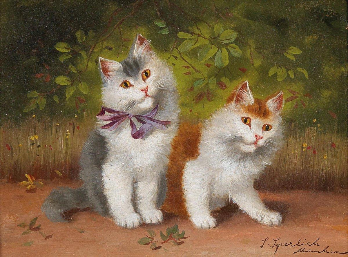 Кошки, картина Сперлих Софи «Две кошки», 27x20 см, на бумагеКошки<br>Постер на холсте или бумаге. Любого нужного вам размера. В раме или без. Подвес в комплекте. Трехслойная надежная упаковка. Доставим в любую точку России. Вам осталось только повесить картину на стену!<br>
