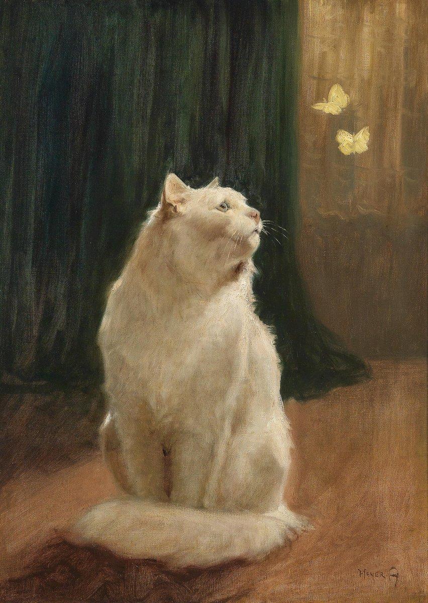 Кошки, картина Хейер Артур «Белая кошка и две бабочки», 20x28 см, на бумагеКошки<br>Постер на холсте или бумаге. Любого нужного вам размера. В раме или без. Подвес в комплекте. Трехслойная надежная упаковка. Доставим в любую точку России. Вам осталось только повесить картину на стену!<br>