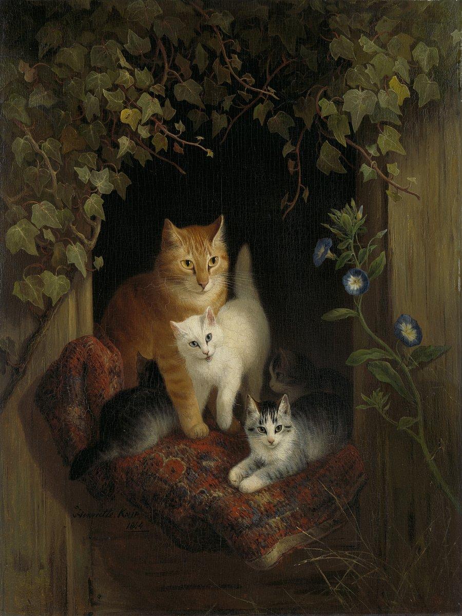Искусство, картина Хейер Артур «Кошка с котяами в кресле у окна», 20x27 см, на бумагеКошки<br>Постер на холсте или бумаге. Любого нужного вам размера. В раме или без. Подвес в комплекте. Трехслойная надежная упаковка. Доставим в любую точку России. Вам осталось только повесить картину на стену!<br>