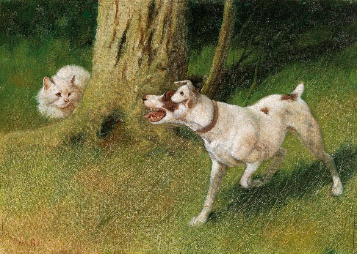Искусство, картина Хейер Артур «Собака и кошка», 28x20 см, на бумагеКошки<br>Постер на холсте или бумаге. Любого нужного вам размера. В раме или без. Подвес в комплекте. Трехслойная надежная упаковка. Доставим в любую точку России. Вам осталось только повесить картину на стену!<br>