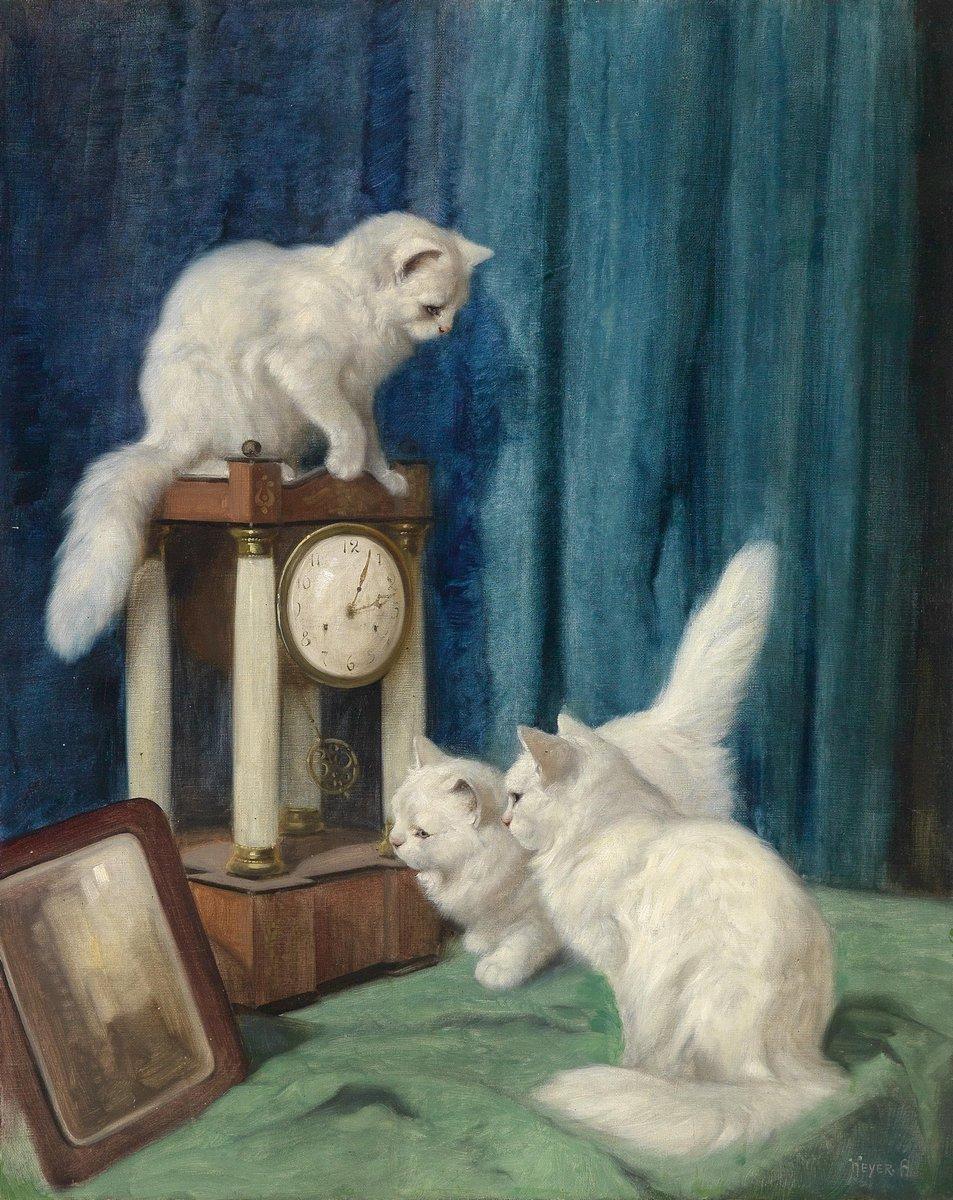 Искусство, картина Хейер Артур «Три любопытных кота», 20x25 см, на бумагеКошки<br>Постер на холсте или бумаге. Любого нужного вам размера. В раме или без. Подвес в комплекте. Трехслойная надежная упаковка. Доставим в любую точку России. Вам осталось только повесить картину на стену!<br>