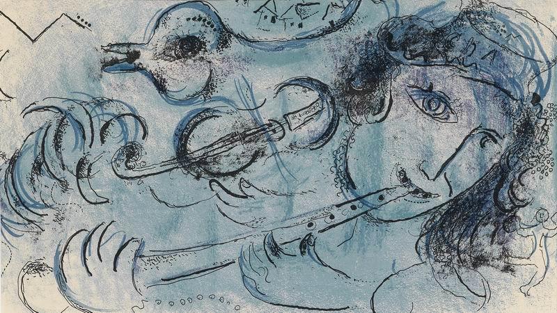 Шагал Марк, картина Голубой флейтистШагал Марк<br>Репродукция на холсте или бумаге. Любого нужного вам размера. В раме или без. Подвес в комплекте. Трехслойная надежная упаковка. Доставим в любую точку России. Вам осталось только повесить картину на стену!<br>