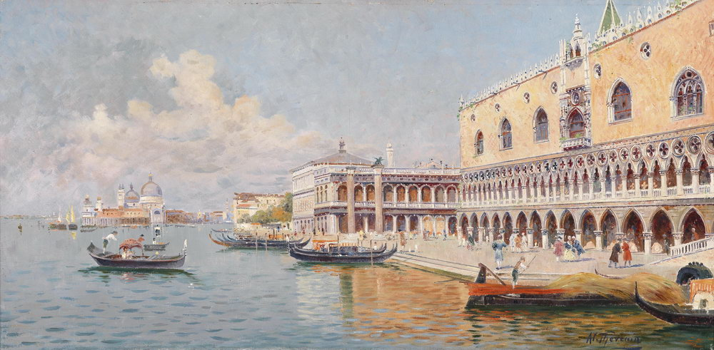 Постер Венеция - живопись Тевенин. У Дворца ДожейВенеция - живопись<br>Постер на холсте или бумаге. Любого нужного вам размера. В раме или без. Подвес в комплекте. Трехслойная надежная упаковка. Доставим в любую точку России. Вам осталось только повесить картину на стену!<br>