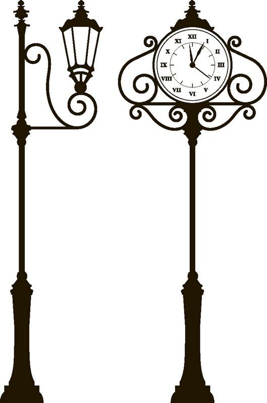 Наклейка «Часы и фонарь»Винтаж<br><br>
