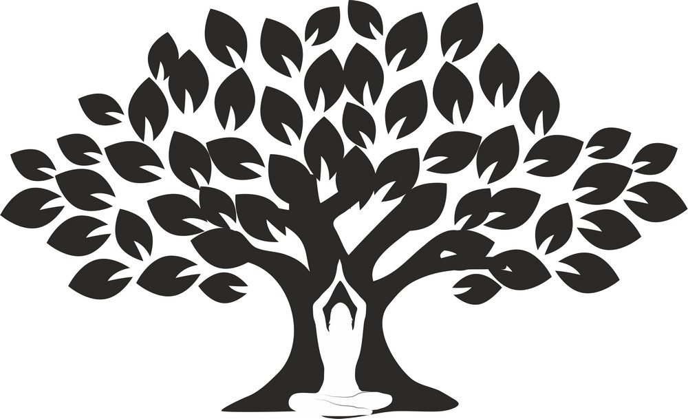 Наклейка «Дерево и Будда»