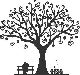 Наклейка «Дерево с сердечками»
