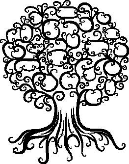 Наклейка «Дерево с завитушками»